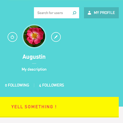 Twiby, page profil, call to action pour Yell Something